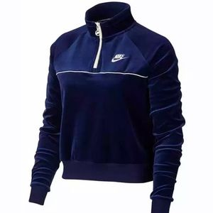 Nike Blue Velour Pull Over NWT